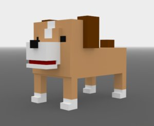 dog voxels 3D model