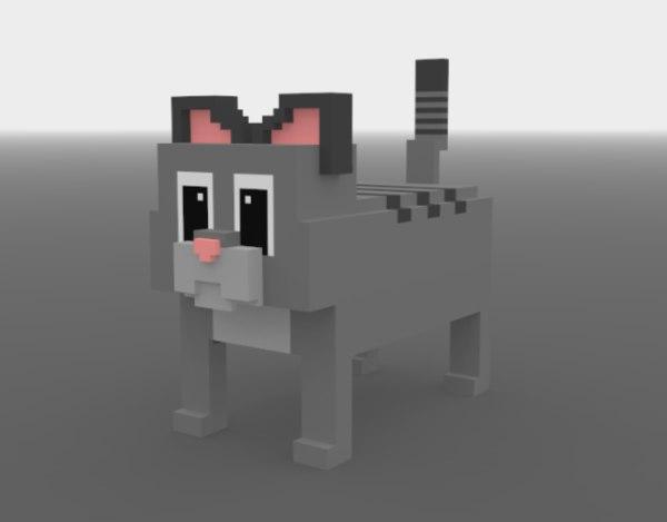 3D model cat voxels