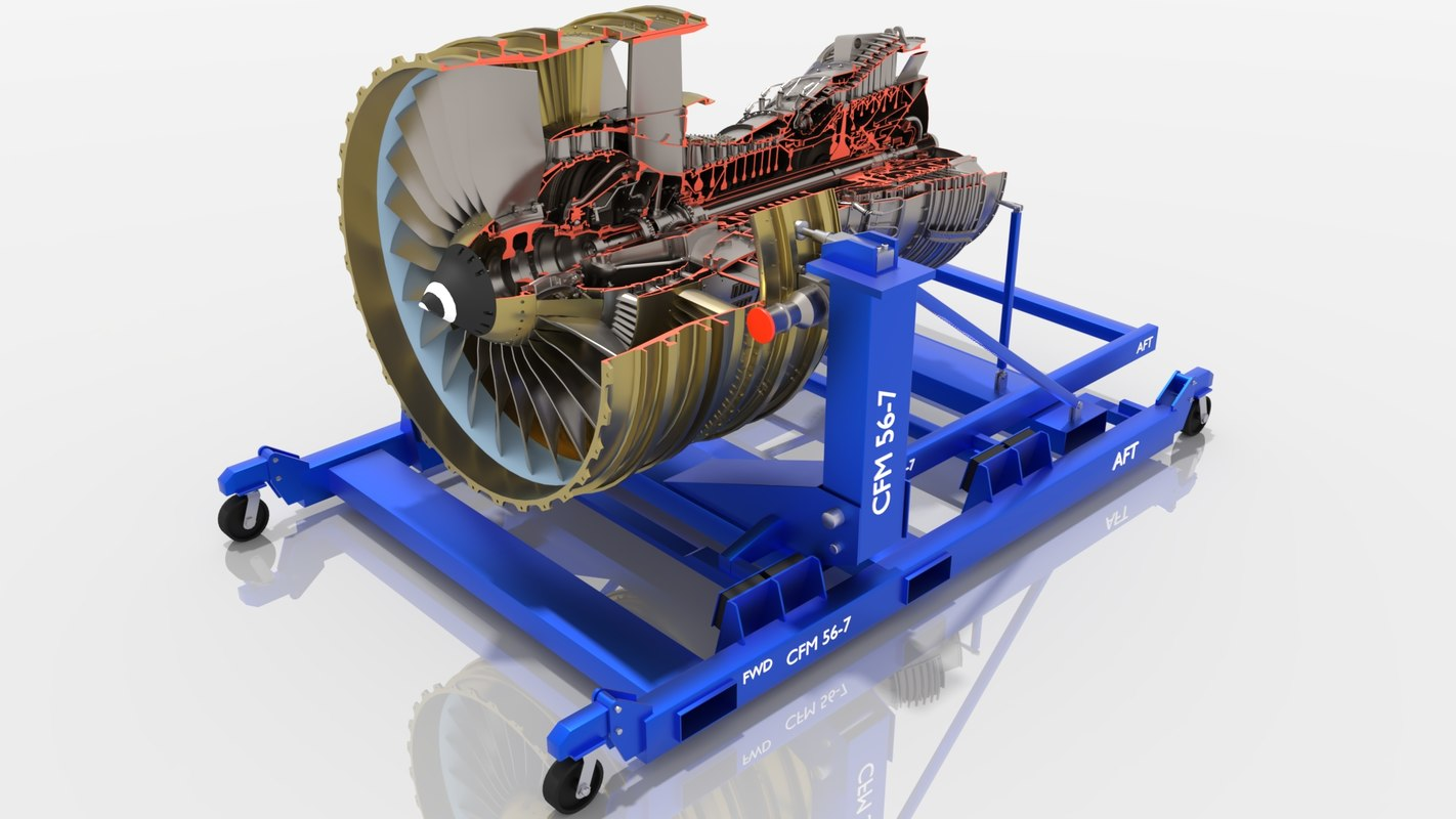 3D cfm56-7b turbofan engine