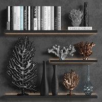 decorative set coral books 3D model