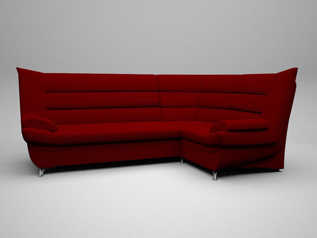 3D red corner sofa