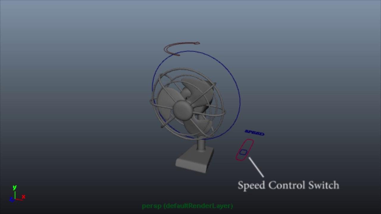 3D model rigged table fan