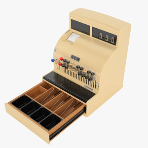 retro cash register 3D