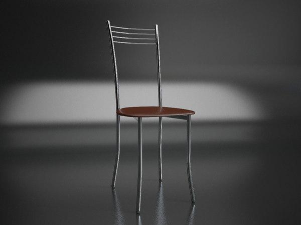 3D chrome chair model