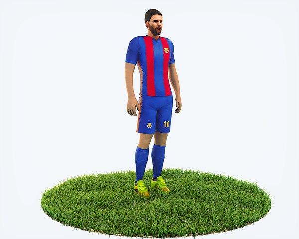 3D model ready football soccer player