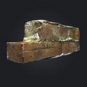 3D photoscanned brick wall debris