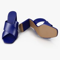 Women's Shoes Blue Leather Mules