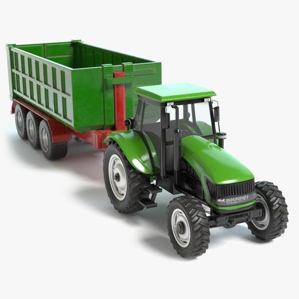 3D model farm tractor trailer