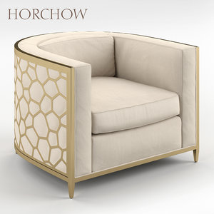 golden curved chair horchow 3D