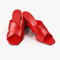 Women's Shoes Red Leather Mules