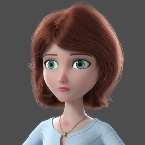 3D model cartoon woman norig
