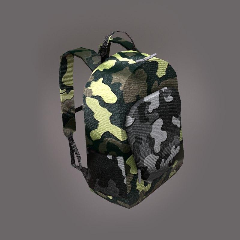 3D camo backpack model