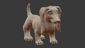 3D sculpt dachshund