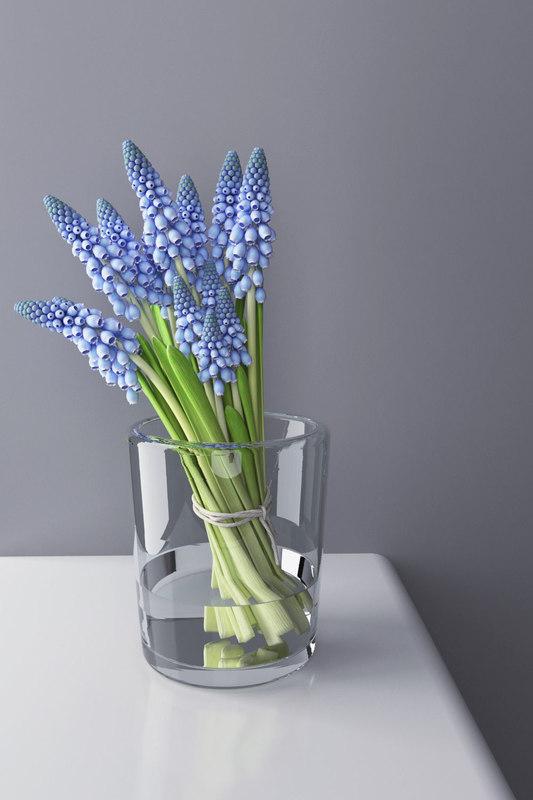 3D model muscari bunch glass vase