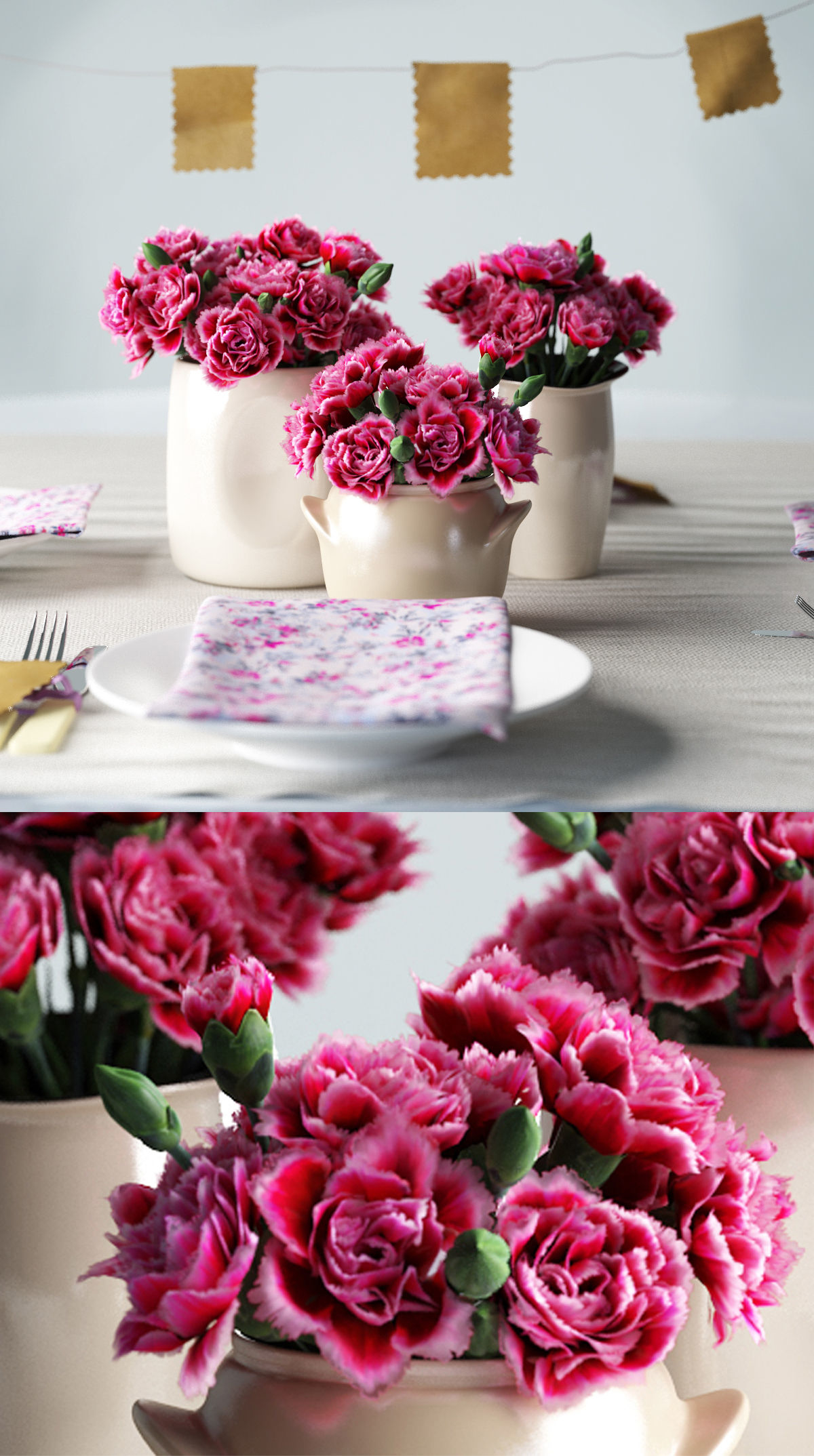 3D pink carnations ceramic vases