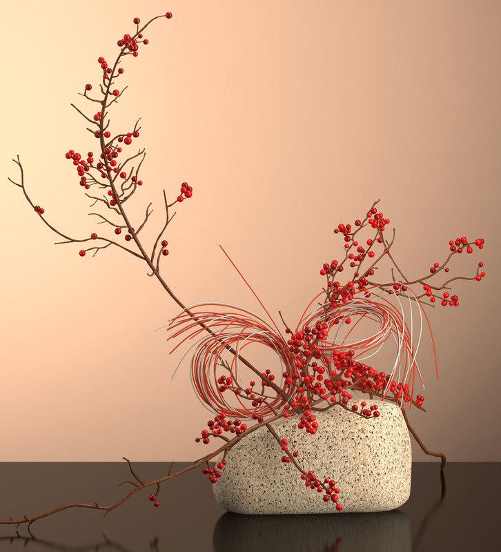 3D mizuhiki ikebana model