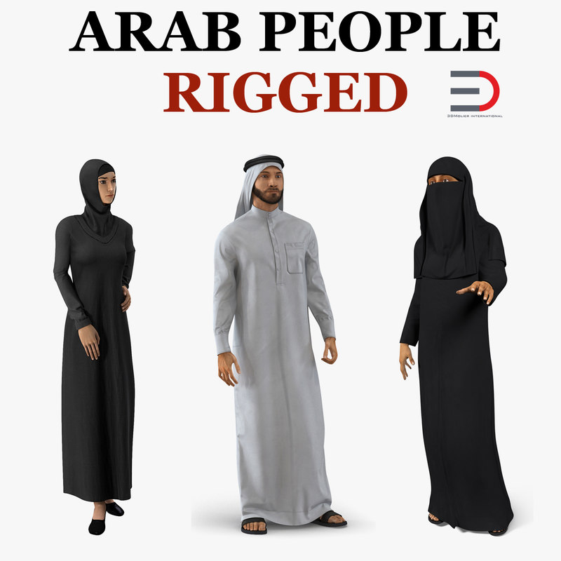 3D model arab people 2 rigged