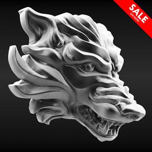 wolf bust 3D model