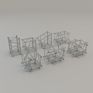 square truss straight corners 3D model