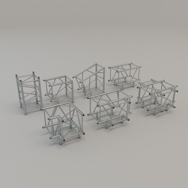 square truss straight corners 3D model