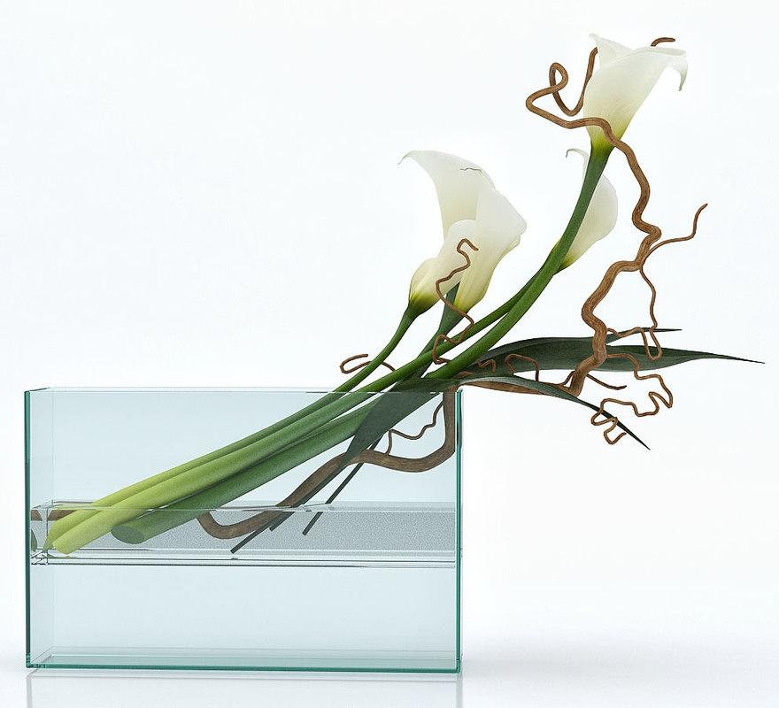 white callas square vase model