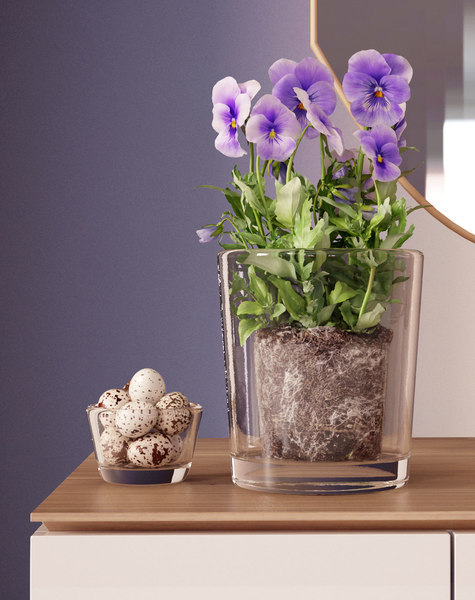 spring pansy centerpiece 3D model