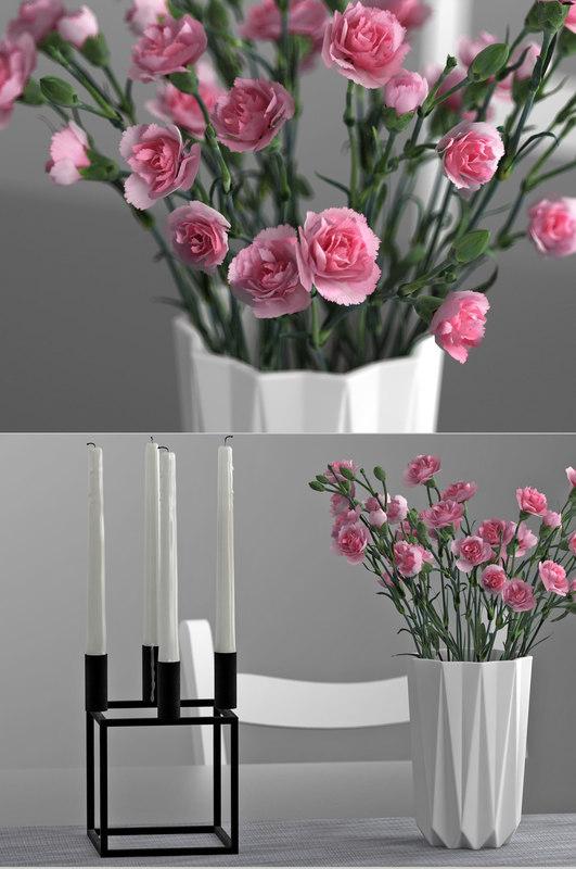 pink carnations candle holder 3D model