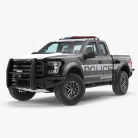 Police Pickup Truck Modern Generic Rigged