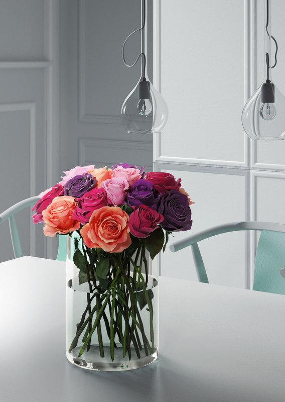 roses glass vase 3D