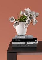 torn-edge tulips white vase 3D model