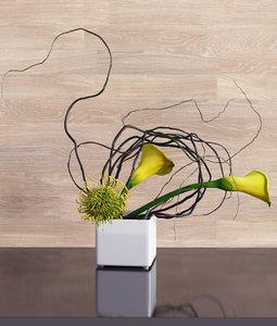 calla lily protea ikebana 3D model