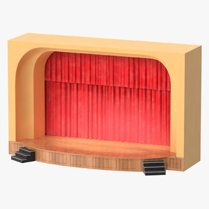 theater stage lit 3D