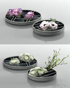 ranunculus ikebana 3D model
