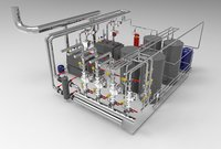 3D industrial boiler room modelled