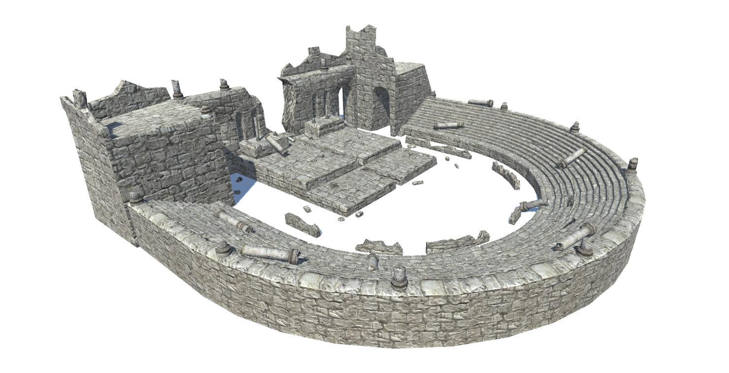 3D model ancient theatre ruins