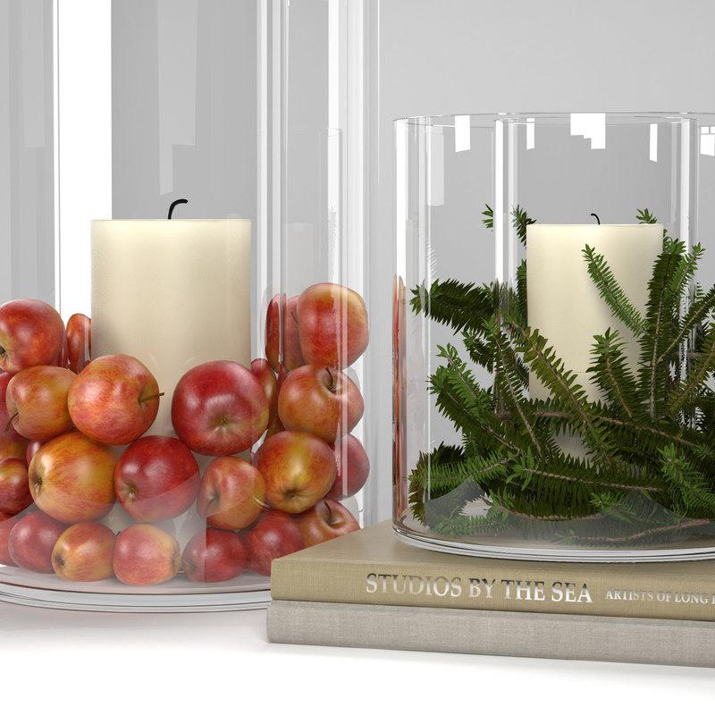 glass display hurricanes apples 3D model