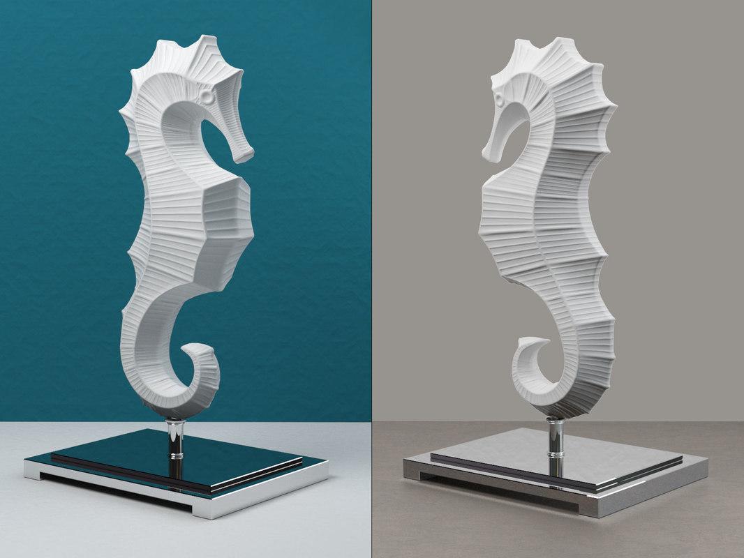 jonathan adler ceramic seahorse 3D