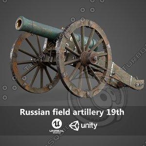 3D russian field artillery 19th model