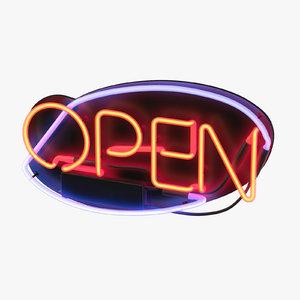 open neon sign 3D model