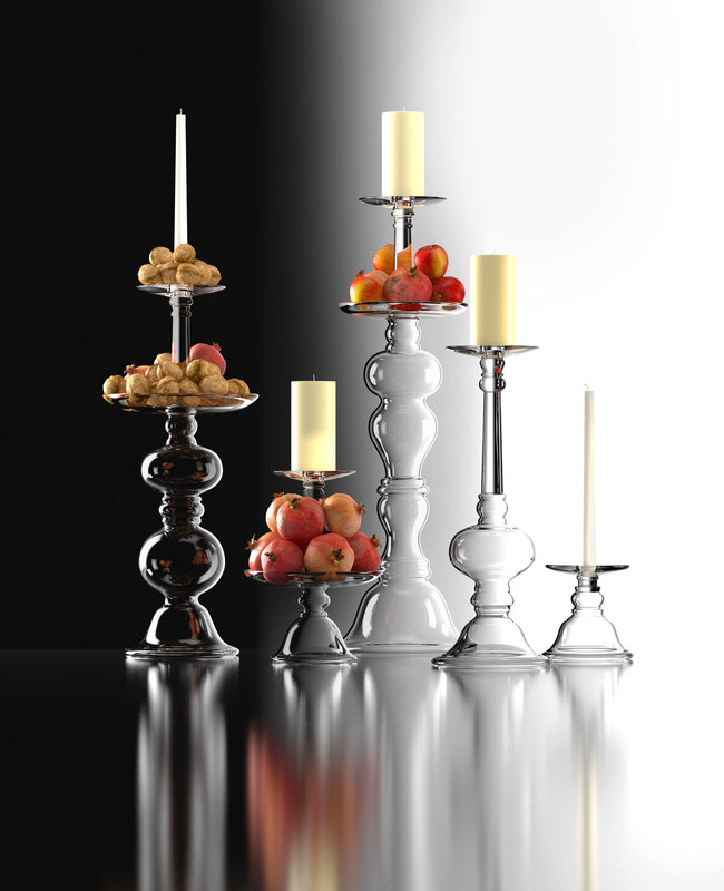 3D addison glass candle holders model