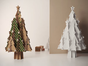 3D cardboard christmas tree stars model