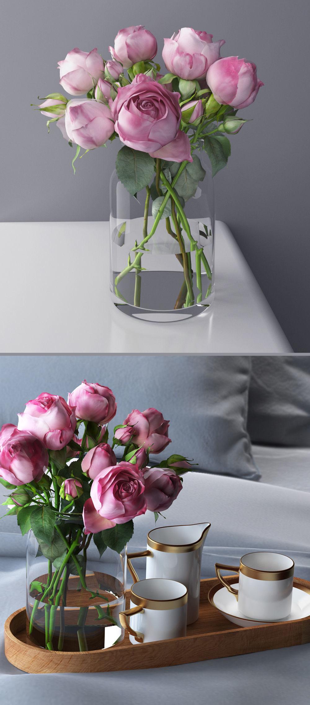 3D rose bouquet coffee set