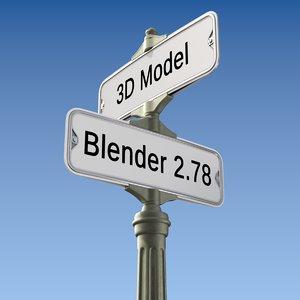 3D street sign retro model