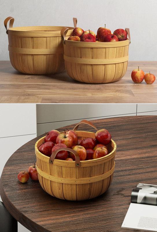 3D crate barrel orchard basket
