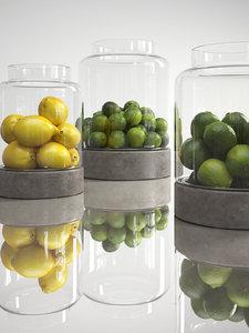 3D model lemons limes