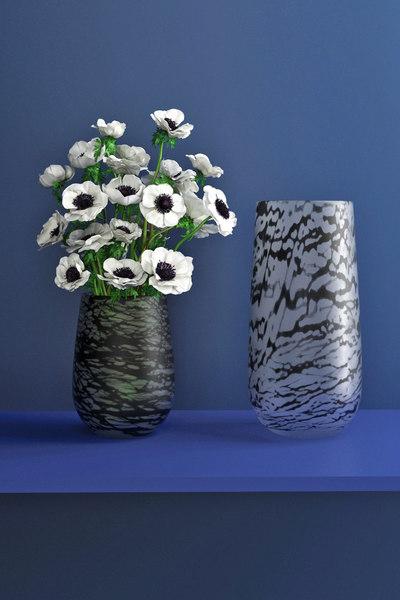 3D white anemones silk vase model