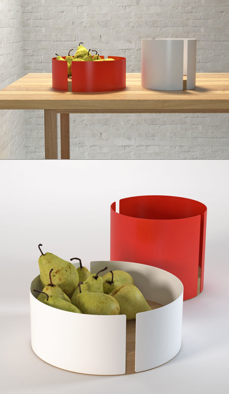 3D model peel fruit bowl pears