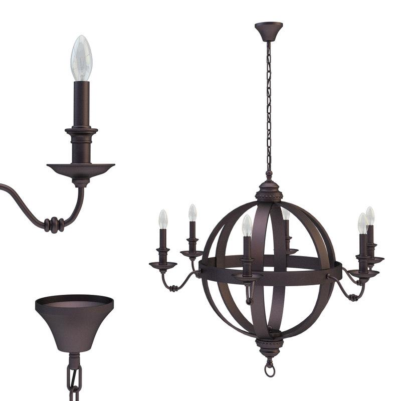 medieval metal orb chandelier 3D model