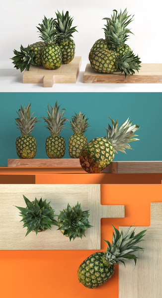 pineapples wooden board 3D model