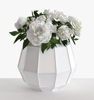 faceted vase white peonies 3D model